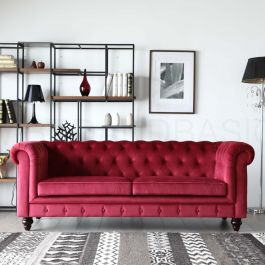 Hugo 3 Seater Chesterfield Sofa Red