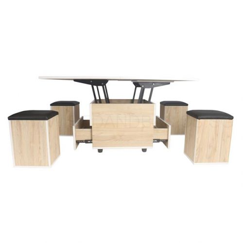 Enzo Smart Coffee Table Dining Set With 4 Stools Living Room Furniture Singapore Bedandbasics