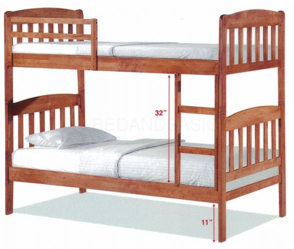 Woods Double Decker Wooden Bed Frame II | BedandBasics.sg
