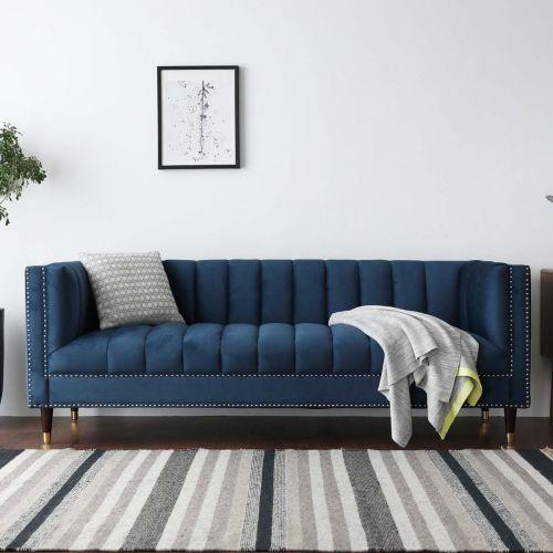 Feo Chesterfield 3 Seater Sofa Blue Velvet Water Repellent