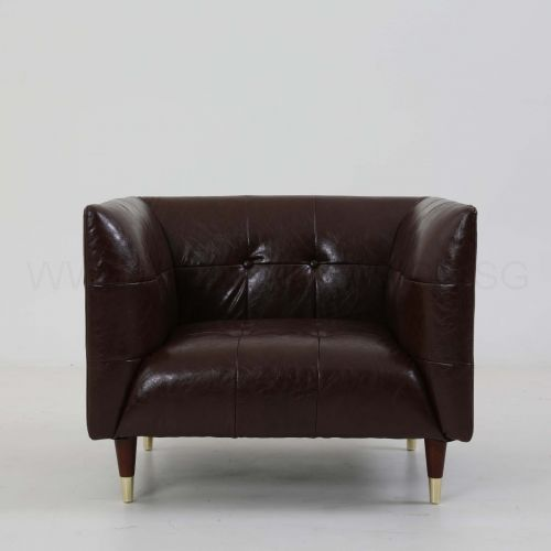 Frank Tuxedo Chesterfield Armchair Brown Vintage Leather