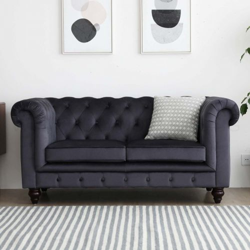 Hugo Chesterfield 2 Seater Sofa - Black Velvet (Water Repellent)