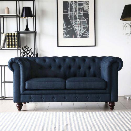 Hugo 2 Seater Chesterfield Sofa   Presidential Blue Fabric | BedandBasics.sg