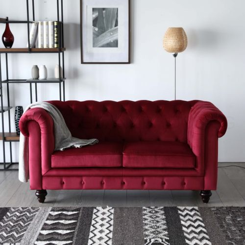 Hugo 2 Seater Chesterfield Sofa - Red Velvet Fabric | BedandBasics ...