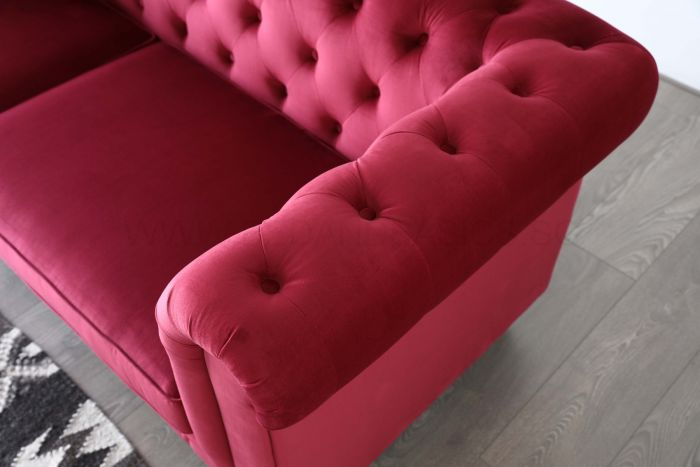 Hugo 3 Seater Chesterfield Sofa - Red Velvet Fabric
