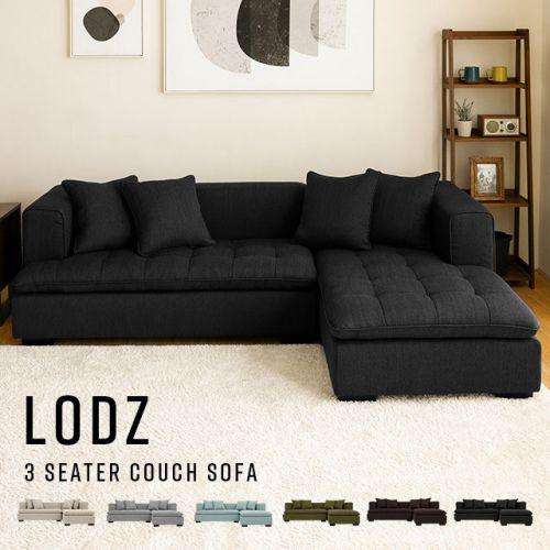 Lodz Fabric Corner Sofa Bedandbasics