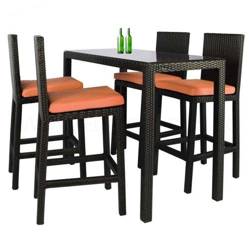 Midas Long 4 Chair Bar Set Orange Cushions