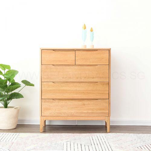 Nara American Oak Wood 5 Drawer Chest
