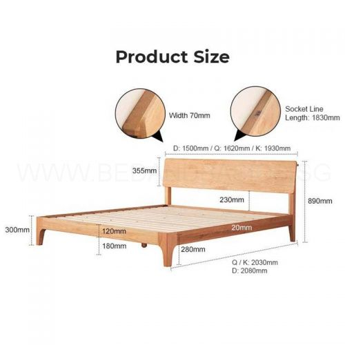 Nara American Oak Wood Bed Frame, Wooden Timber Bed Base Queen