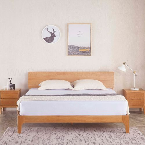 Pleasant Nara American Oak Wood Bed Frame Home Interior And Landscaping Mentranervesignezvosmurscom