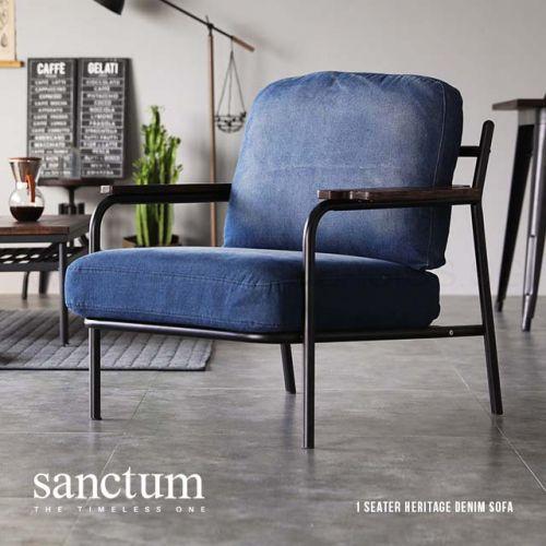 Delicieux Sanctum Denim Fabric Metal Frame Japanese Armchair (1 Seater) |  BedandBasics.sg