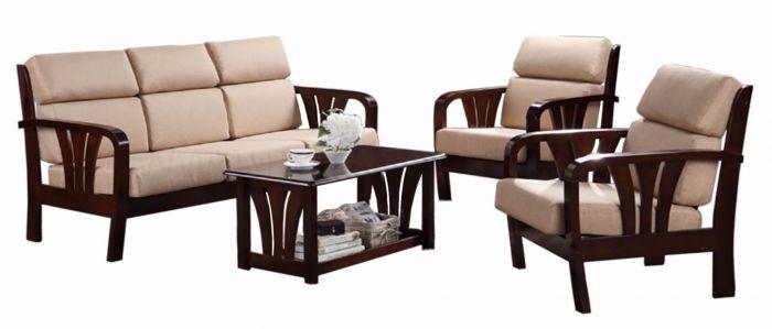 Alonso Solid Wood Sofa Set Iii