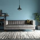 Feo Tuxedo Chesterfield 3 Seater Sofa - Velvet Grey