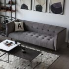 Frank Tuxedo Chesterfield 3 Seater Sofa (Grey Velvet)