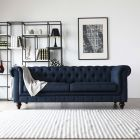 Hugo Chesterfield 3 Seater Sofa - Presidential Blue