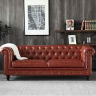 Hugo Chesterfield 3 Seater Sofa - Vintage Brown Leather