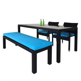 Addison 4 Pcs Dining Set, Blue Cushions