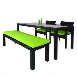 Addison 4 Pcs Dining Set, Green Cushions
