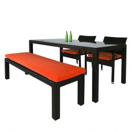 Addison 4 Pcs Dining Set, Orange Cushions