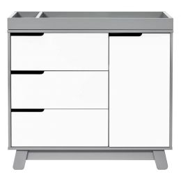 Hudson 3-Drawer Changer Dresser with Removable Changing Tray (Grey/White)