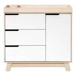 Hudson 3-Drawer Changer Dresser with Removable Changing Tray (Washed/White)