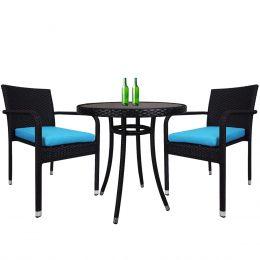 Balcony 2 Chair Bistro Set, Blue Cushion