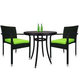 Balcony 2 Chair Bistro Set, Green Cushion