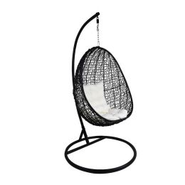 Black Cocoon Swing Chair, White Cushion