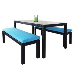 Bondi 3 Piece Dining Set, Blue Cushion