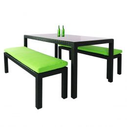 Bondi 3 Piece Dining Set, Green Cushion