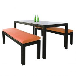 Bondi 3 Piece Dining Set, Orange Cushion