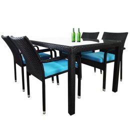 Boulevard 4 Chair Dining, Blue Cushions