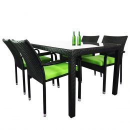 Boulevard 4 Chair Dining, Green Cushions