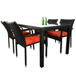Boulevard 4 Chair Dining, Orange Cushions