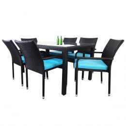Boulevard 6 Chair Dining, Blue Cushions