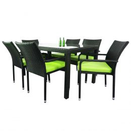 Boulevard 6 Chair Dining, Green Cushions
