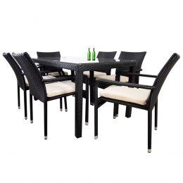 Boulevard 6 Chair Dining, White Cushions