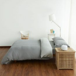 Cotton Pure Ash Grey Knitted Cotton Quilt Cover