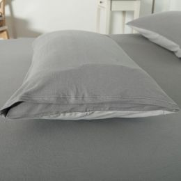 Cotton Pure Ash Grey Knitted Cotton Pillow Case