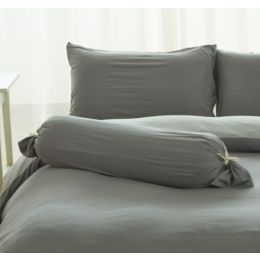 Cotton Pure Ash Grey Knitted Cotton Bolster Case