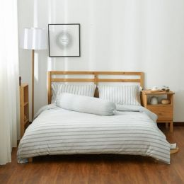 Cotton Pure Menatee Grey Stripe Knitted Cotton Bundle Bed Set
