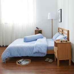Cotton Pure Sky Blue Stripe Knitted Cotton Quilt Cover