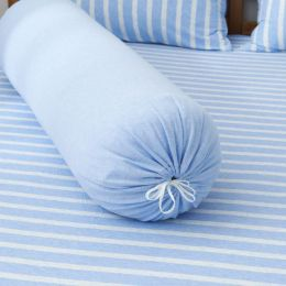 Cotton Pure Sky Blue Stripe Knitted Cotton Bolster Case