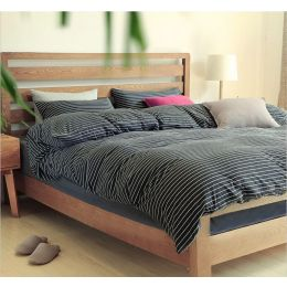 Cotton Pure Classic Black Stripe Knitted Cotton Bundle Bed Set