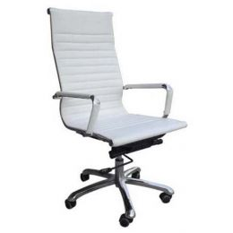 Eames Office Chair Leather HighBack Replica (White)