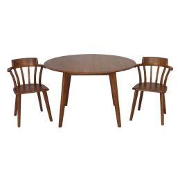 Elmways Solid Wood Foldable Round Dining Table Set