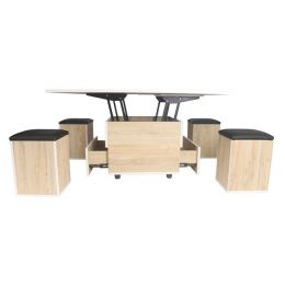 Enzo Smart Coffee Table / Dining Set with 4 Stools