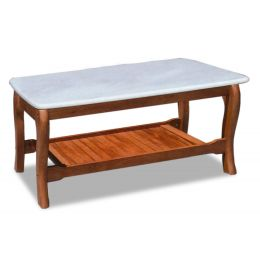 Denot Classic Solid Wood Coffee Table with Marble Top