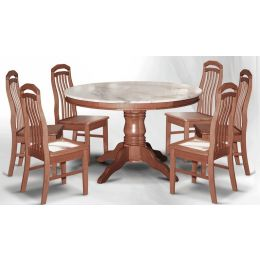 Lois Natural Marble Dining Set 004