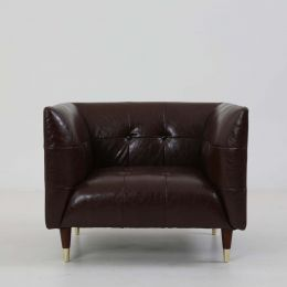 Frank Tuxedo Chesterfield Armchair (Brown Vintage Leather)